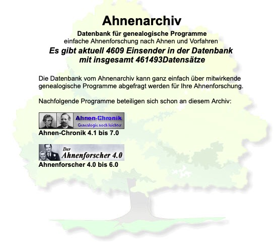 Ahnenarchiv Screenshot